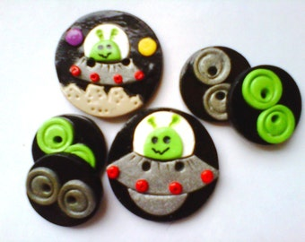 Button Little Green Men polymer clay button set ( 6 )
