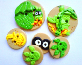Button Dragons polymer clay buttons ( 6 )