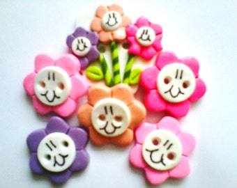 Button Smiley Face Flowers polymer clay buttons  ( 6 )