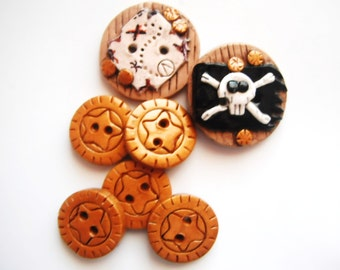 Button Yo Ho Pirate Booty handmade polymer clay buttons ( 7 )