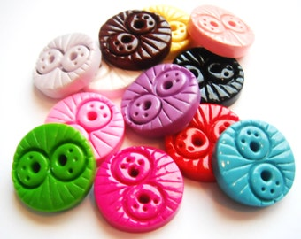 Button Solid Doodles handmade polymer clay buttons ( 6 )