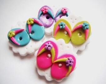 Button Flip Flops polymer clay buttons ( 4 )