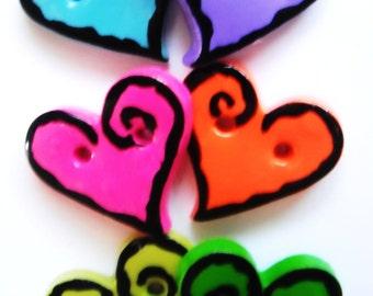 Button Rock Hearts handmade polymer clay buttons ( 6 )