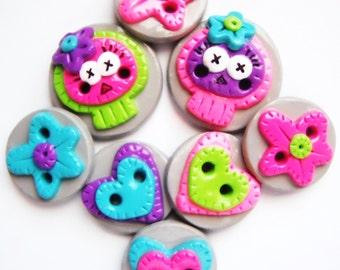Button Little Patchwork Skulls handmade polymer clay buttons ( 8 )