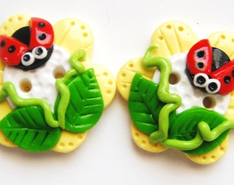 Button Twin Ladybugs handmade polymer clay buttons ( 2 )
