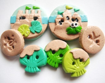 Button Sand Castles handmade polymer clay buttons ( 7 )