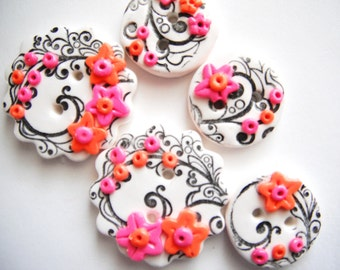 Button Black and Bright Blooms polymer clay buttons ( 5 )