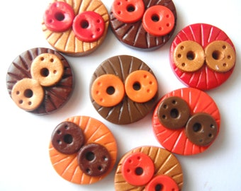 Button Fall Doodles polymer clay buttons ( 8 )