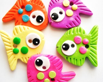 Button Big Fish handmade polymer clay buttons ( 5 )