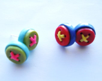 Buttons handmade polymer clay earrings  2 sets ( 4 )