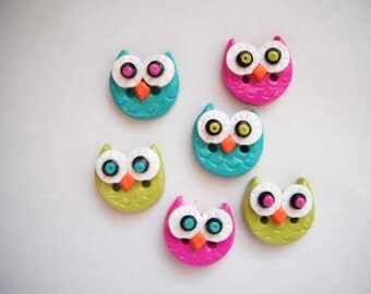 Button Simple Little Owls handmade polymer clay buttons ( 6 )