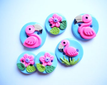 Button Flamingo handmade polymer clay buttons ( 6 )