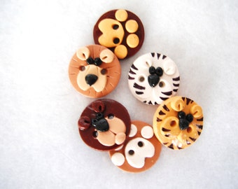Buttons Lions and Tigers and Bears handmade polymer clay buttons ( 6 )