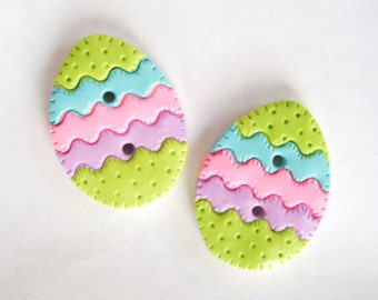 Button twin Quilted Easter Eggs handmade polymer clay buttons ( 2 )