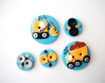 Button Work Trucks handmade polymer clay buttons ( 5 )