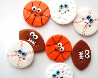 Button Sport Balls handmade polymer clay buttons ( 4 )