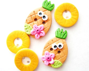 Button Pineapple and Rings handmade polymer clay buttons ( 5 )