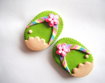 Magnet Pair of Flip Flop handmade polymer clay magnets ( 2 )
