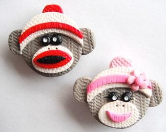 Magnet Sock Monkeys handmade polymer clay magnets ( 2 )