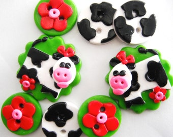 Button Miss Moo handmade polymer clay cow buttons ( 8 )