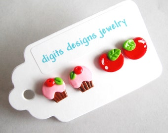 Earrings Cupcake and Cherries handmade polymer clay button post stud pierced earrings ( 4 )