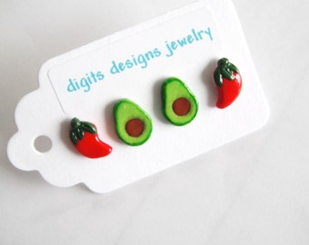 Earrings Avocado and Chili Peppers handmade polymer clay button pierced stud post earrings (4)