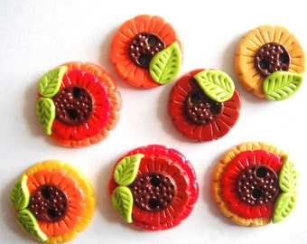Button Wild Sunflowers handmade polymer clay buttons ( 7 )