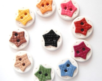 Button Country Colored Rustic Stars handmade polymer clay buttons ( 10 )