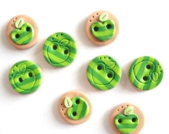 Button Green Apples handmade polymer clay buttons ( 8 )