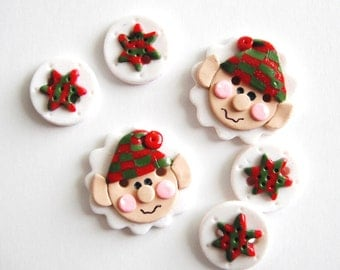 Button Christmas Elf handmade polymer clay buttons ( 6 )