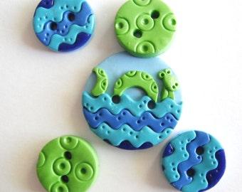 Button Green Sea Monster handmade polymer clay button set ( 5 )