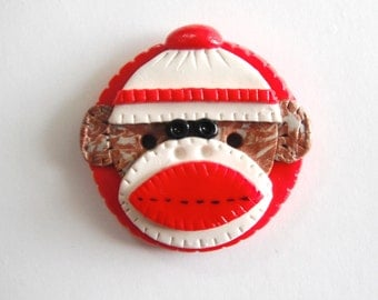 Button NEW Biggy Button Sock Monkey handmade polymer clay button ( 1 )