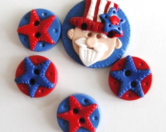 Button Uncle Sam handmade polymer clay buttons ( 5 )