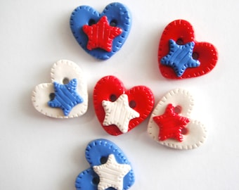 Button Patriotic Hearts with Stars handmade polymer clay buttons ( 6 )