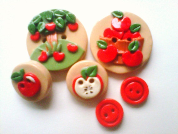 Button Apple Tree  polymer clay buttons   ( 6 )