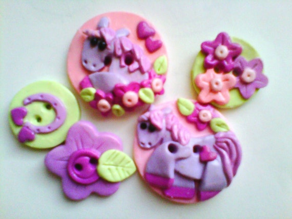 Button Little Unicorn polymer clay buttons   ( 5 )
