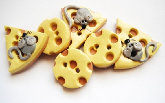 Button Mice and Big Cheese handmade polymer clay button set    ( 6 )