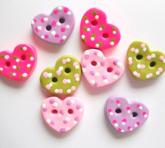 Button Tiny Dotted Hearts handmade polymer clay buttons ( 8 )