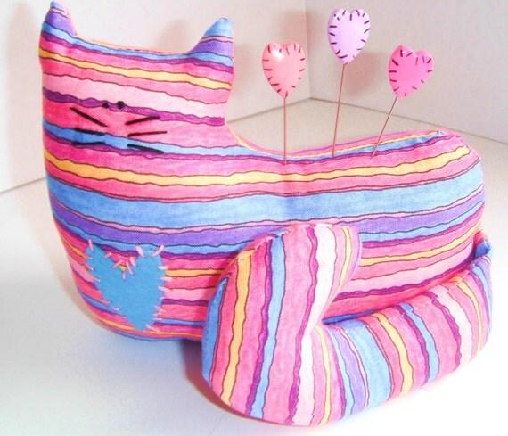 Pincushion Cat with Heart pins ( 3 ) handmade cat pincushion