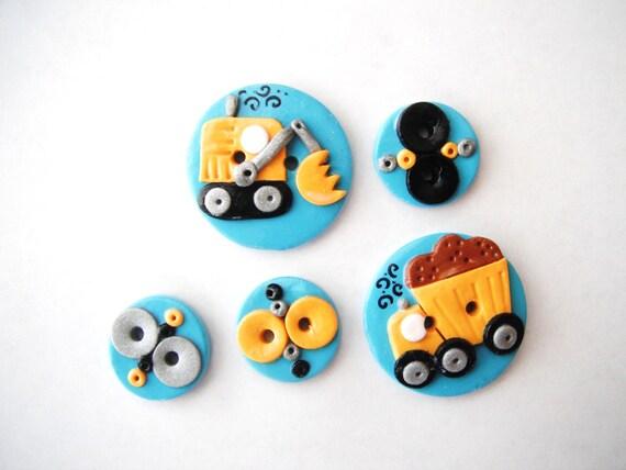 Button Work Trucks handmade polymer clay buttons ( 5 )