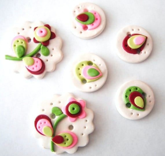 Button Layer Flowers handmade polymer clay buttons ( 6 )