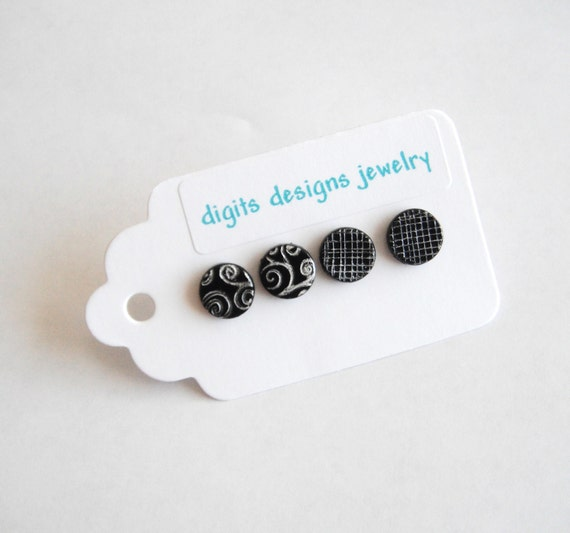 Earrings Black and Silver Stamped handmade polymer clay button post pierced earrings ( 4 )