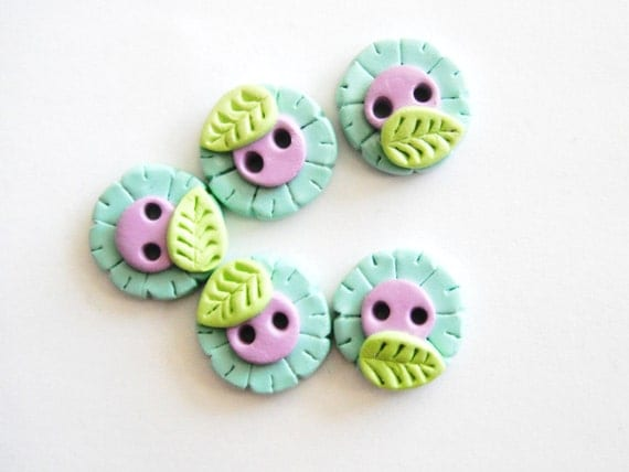 Button Teeny Flowers handmade polymer clay buttons ( 5 )