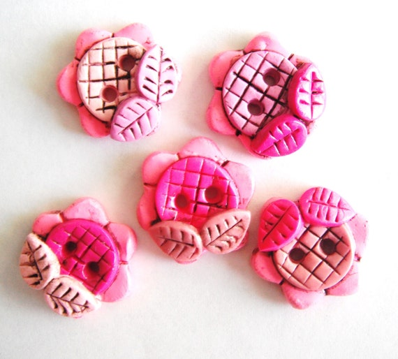 Button Antiqued Fat Flowers handmade polymer clay buttons ( 5 )