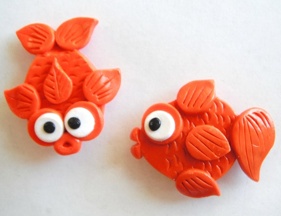 Magnet Goldfish handmade polymer clay magnets ( 2 )