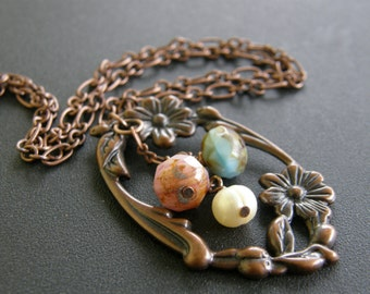 Splendor Necklace in Aged Copper w/Czech glass & Snow White fresh water pearl-Floral frame-Victorian-Edwardian-Earthy-Garden