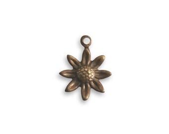 4 pcs Vintaj Sunflower Charm  // Brass Sunflower Charm // Sunflower Charm // Antique Sunflower Charm