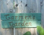 Personalized Hand Painted Rustic Recycled Wood Garden Sign