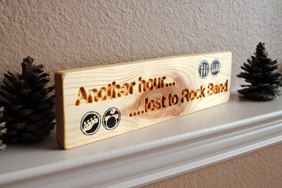 Another Hour Lost to Rock Band Sign - Carved, Hand Painted, Reclaimed Wood