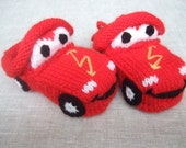 Knitted shoes 'Cars' size 2-3 years old